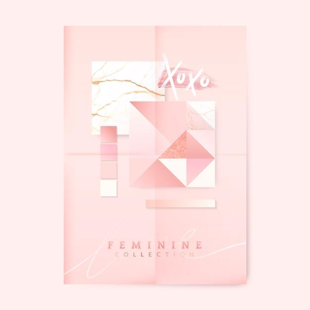 女性らしいピンクのポスター 無料ベクター
