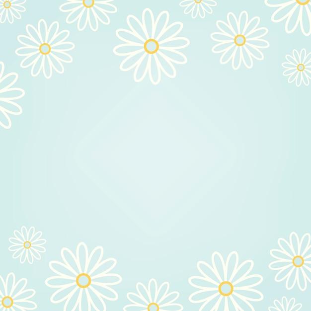 水色の背景のベクトルと白のデイジーパターン 無料ベクター