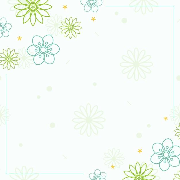 白い背景ベクトルと緑の花模様 無料ベクター