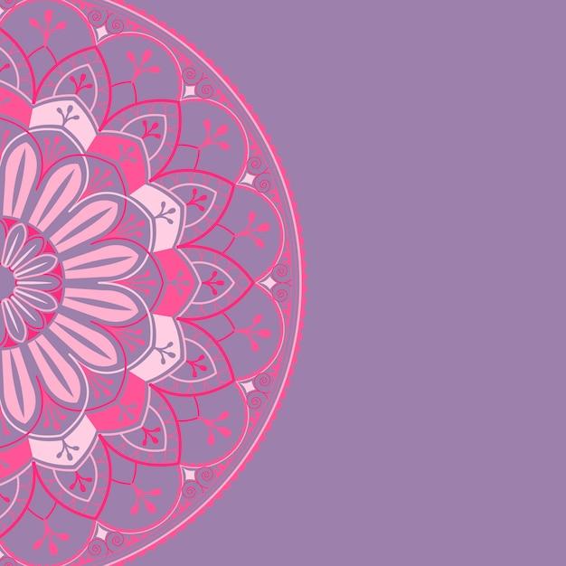 紫色の背景にピンクのマンダラパターン 無料ベクター