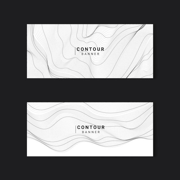 黒と白の抽象的な地図の輪郭線バナーセット 無料ベクター
