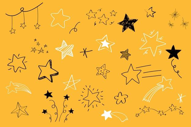 様々な星落書きコレクションベクトル 無料ベクター