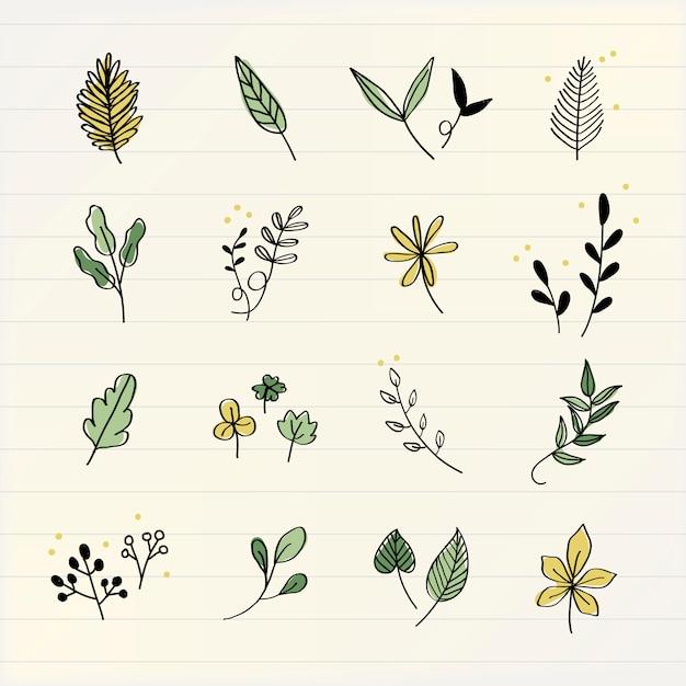 Различные листья каракули коллекции вектор Бесплатные векторы