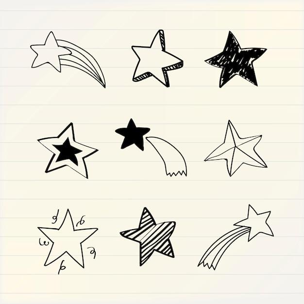 Различные звезды каракули коллекции вектор Бесплатные векторы