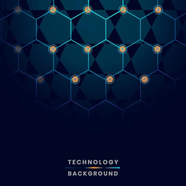 青い六角形ネットワーク技術の背景のベクトル 無料ベクター