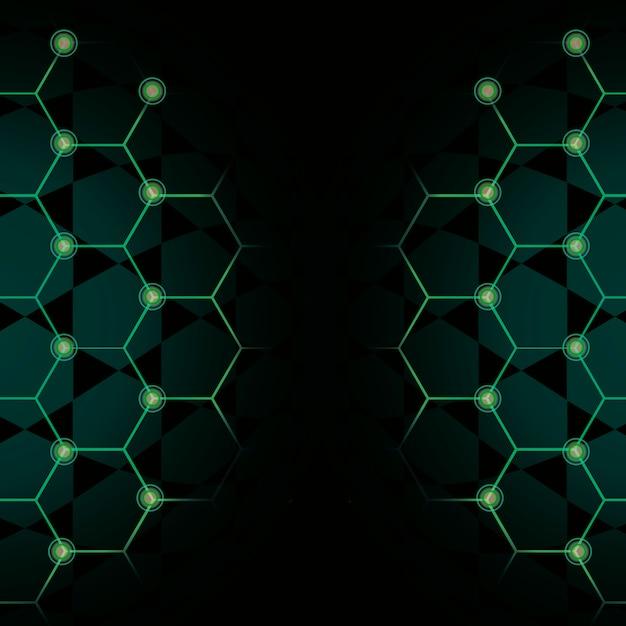 Зеленый шестиугольник сети технологии фон вектор Бесплатные векторы