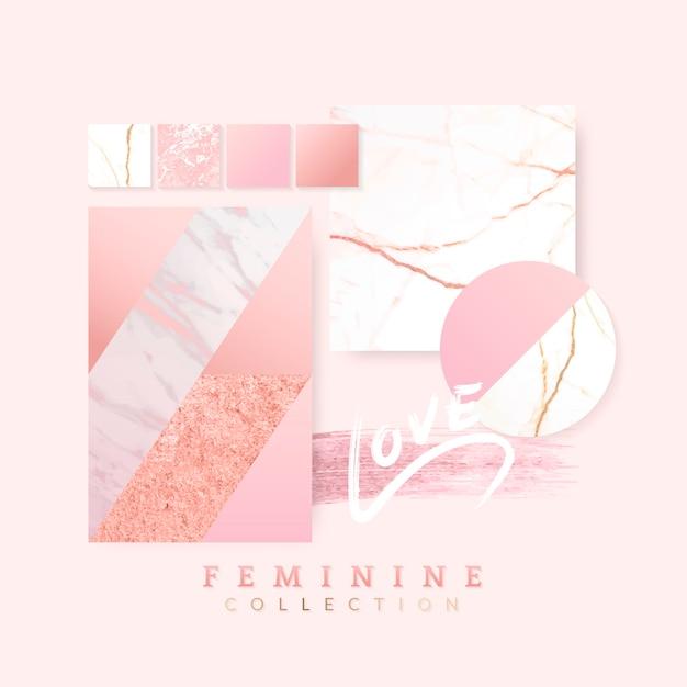 女性らしいピンクのレイアウトデザイン 無料ベクター