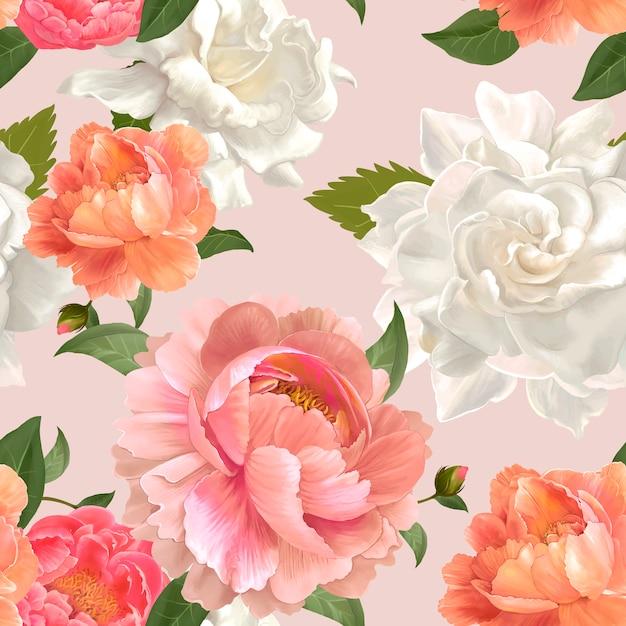 美しい花の背景デザインのベクトル 無料ベクター