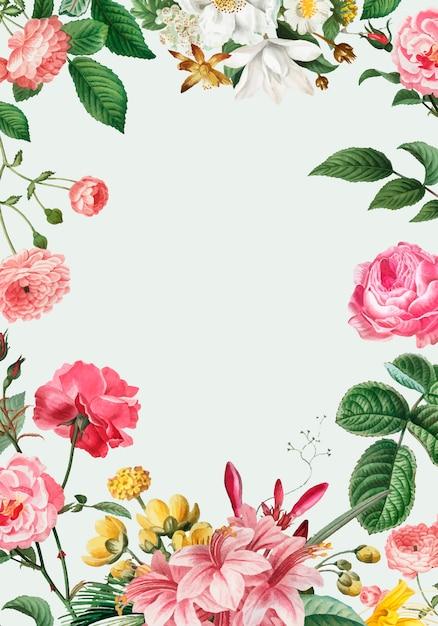 Розовая цветочная рамка Бесплатные векторы