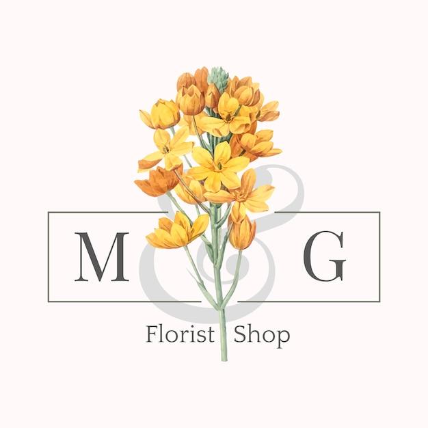 生花店のロゴデザインベクトル 無料ベクター