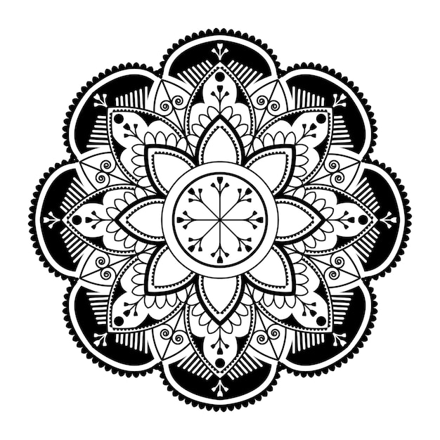 白い背景の上の白い曼荼羅パターン 無料ベクター