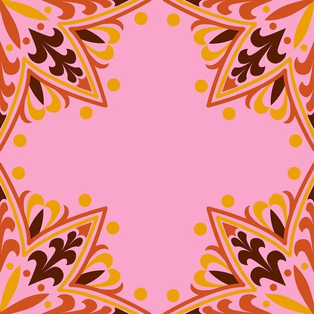 Мандала рисунок на розовом фоне Бесплатные векторы