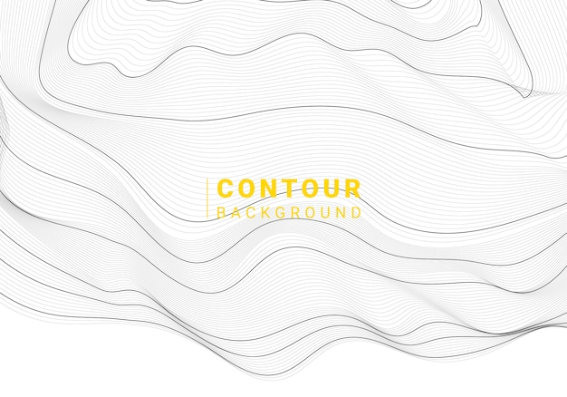 黒と白の抽象的な地図の輪郭線の背景 無料ベクター