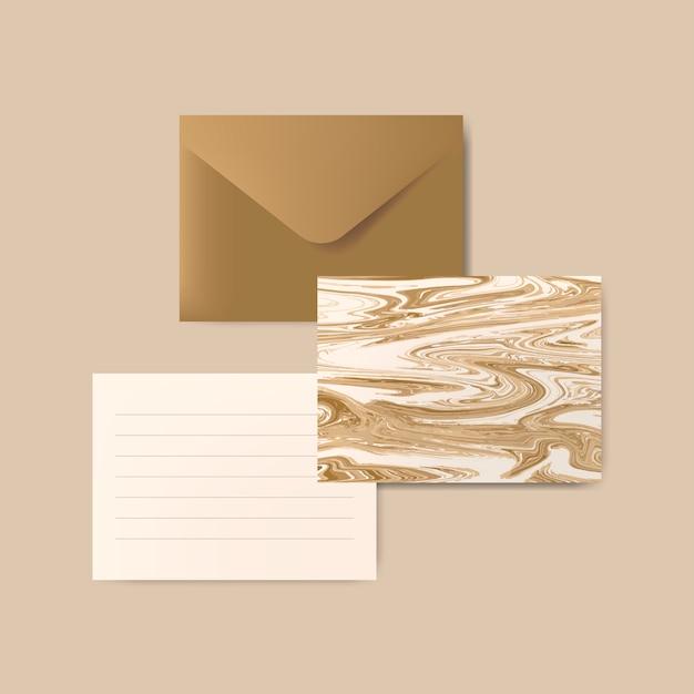 手紙と大理石の抽象的なはがきと茶色の封筒 無料ベクター