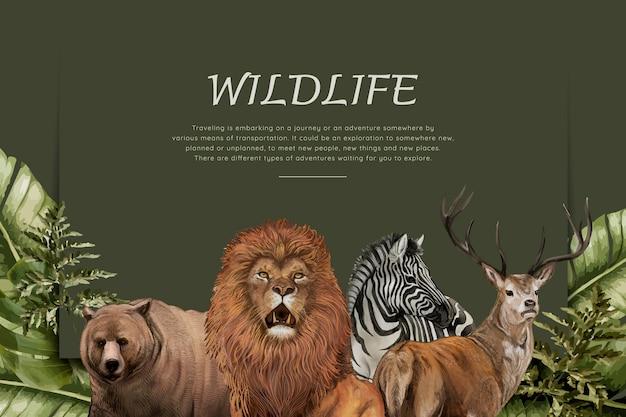 手描きの野生動物 無料ベクター