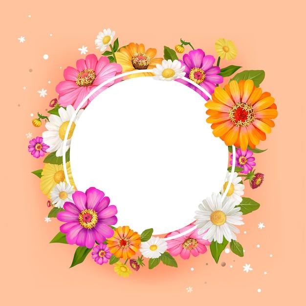 花空白円フレームベクトルをフィーチャーした中国絵画 無料ベクター
