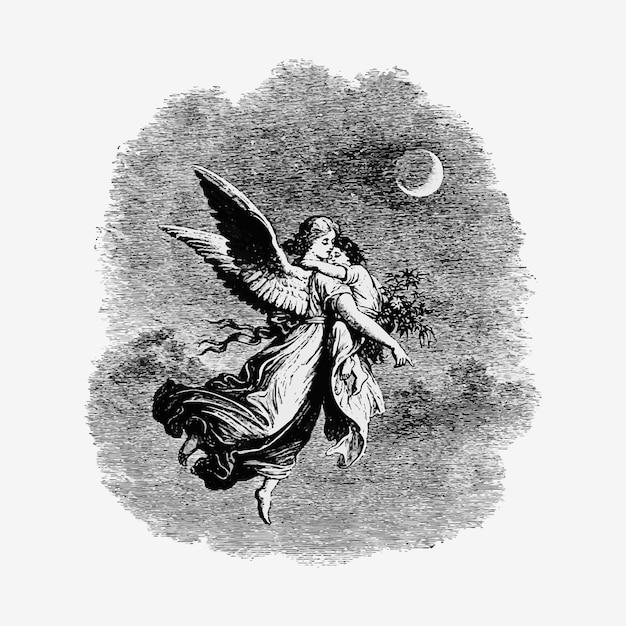 Старинный ангел с детской иллюстрацией Бесплатные векторы