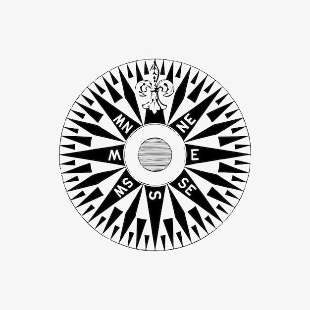 Морской компас старинный рисунок Бесплатные векторы