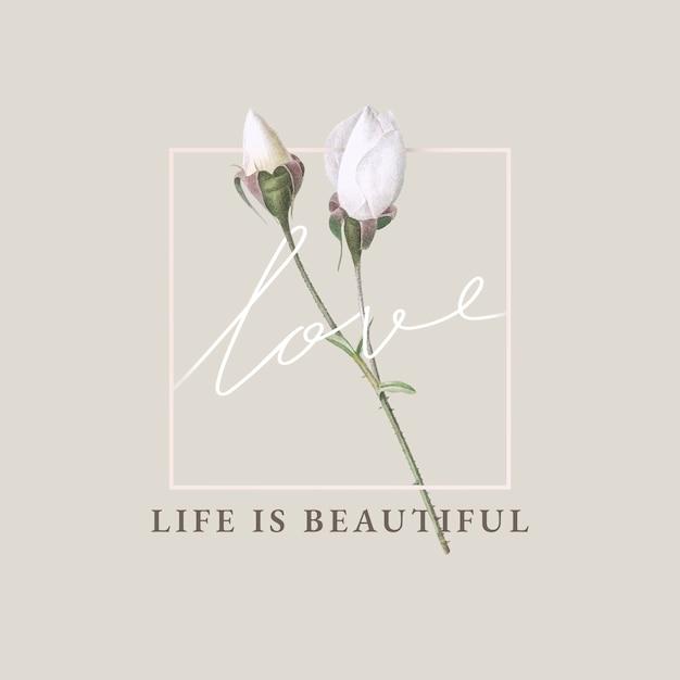 花の生活は美しいカードデザインです 無料ベクター