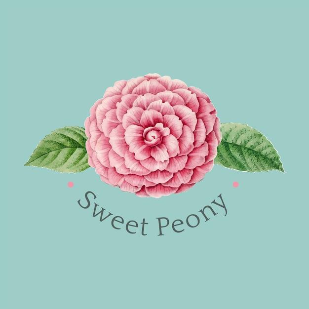甘い牡丹のロゴデザインベクトル 無料ベクター
