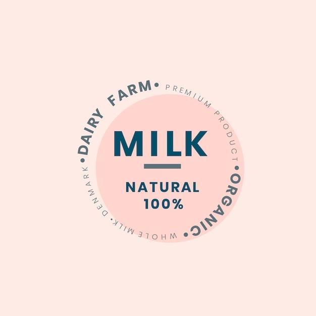 酪農場のミルクのロゴバッジデザイン 無料ベクター