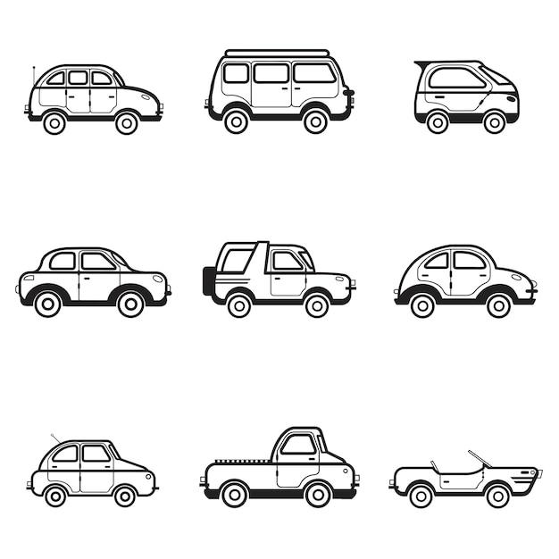 Коллекция легковых и грузовых автомобилей иллюстрации Бесплатные векторы
