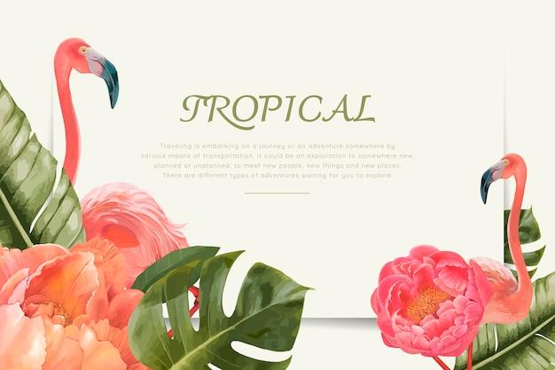 手描きの熱帯のフラミンゴ 無料ベクター