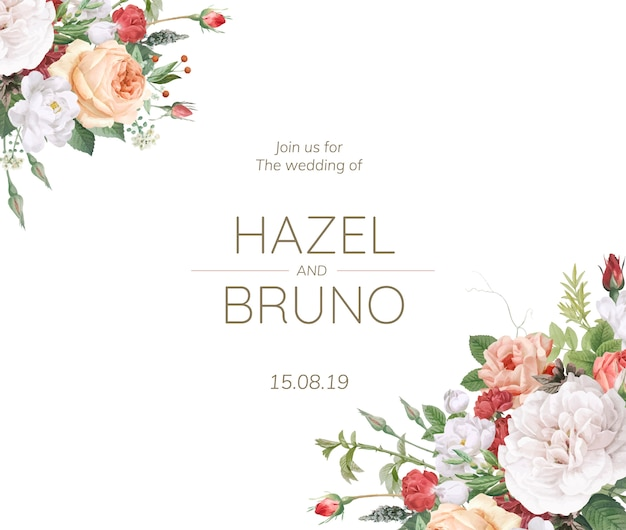 花柄のデザインの結婚式の招待状 無料ベクター
