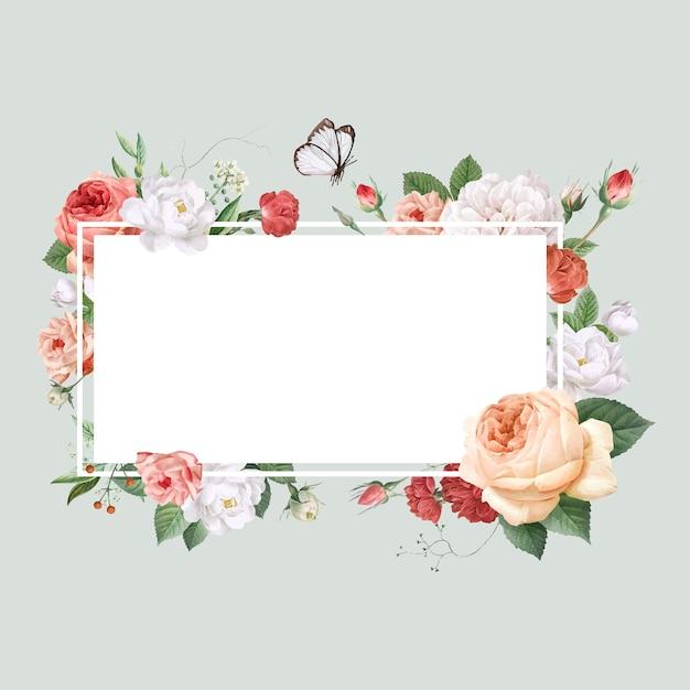 Цветочный дизайн свадебного приглашения макет Бесплатные векторы