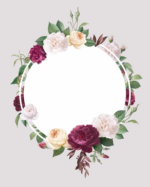 花柄のデザインの結婚式の招待状のモックアップ 無料ベクター
