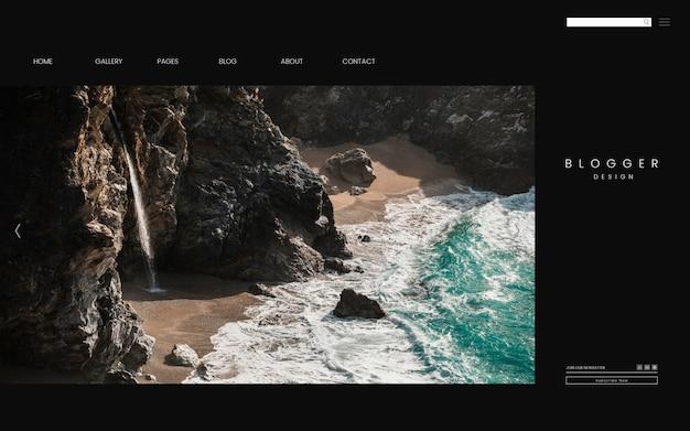 旅行ブログの最初のページのテンプレートデザインのベクトル 無料ベクター