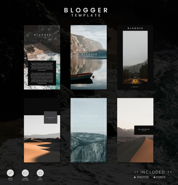 ブログフィードテンプレートデザイン 無料ベクター