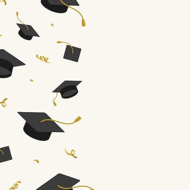 卒業帽子フレーム 無料ベクター