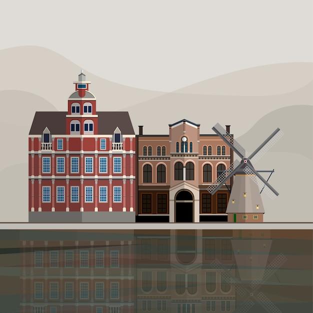 オランダの観光名所のイラスト 無料ベクター