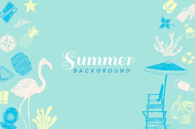 ターコイズブルーの夏の背景 無料ベクター