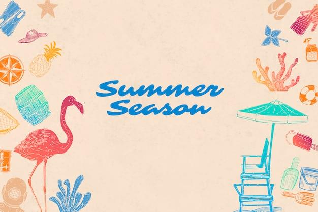 夏シーズンの背景 無料ベクター