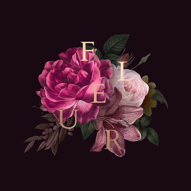 フルールの花のバッジ 無料ベクター