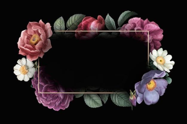 花のフレームカード 無料ベクター