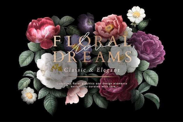 Открытка с цветочными мечтами Бесплатные векторы