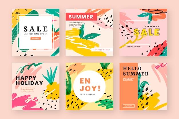 夏の雰囲気のウェブデザイン 無料ベクター