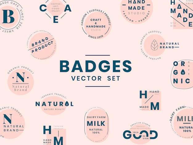 ロゴバッジデザインのベクトルのセット 無料ベクター