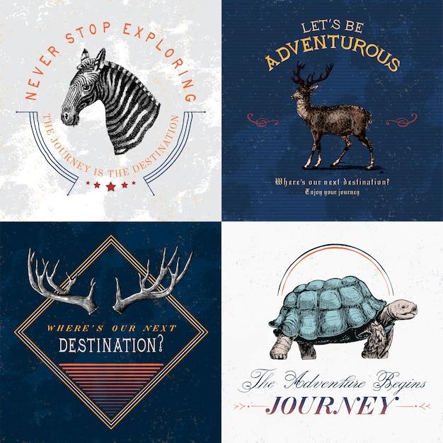 冒険のロゴデザインベクトルのコレクション 無料ベクター