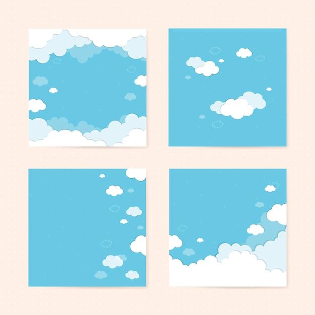 Голубое небо с облаками с рисунком фона векторный набор Бесплатные векторы