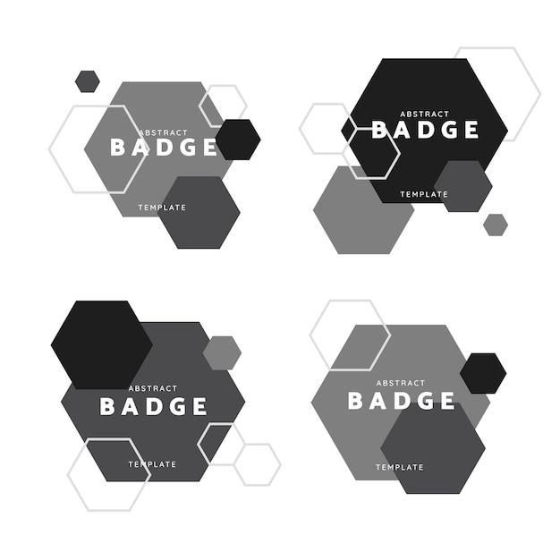 黒と白の六角形の幾何学模様のバッジベクトルセット 無料ベクター