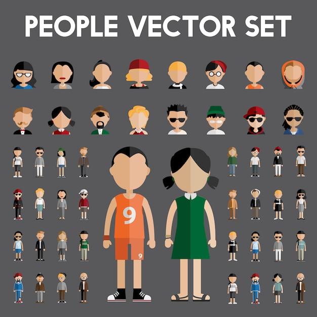 Люди векторный набор Бесплатные векторы