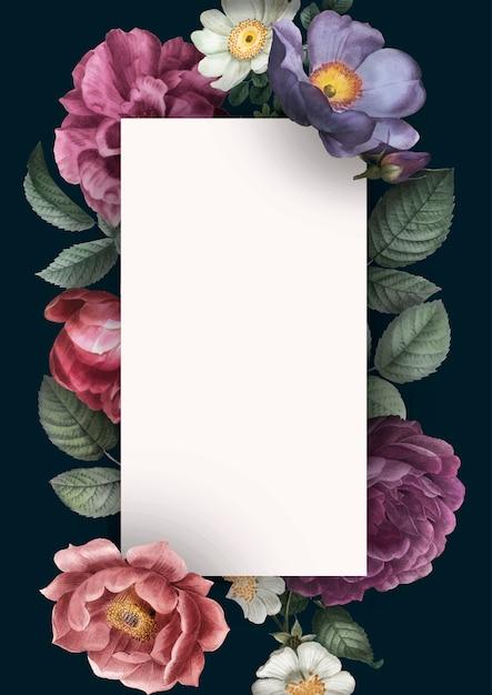 花の招待カード 無料ベクター