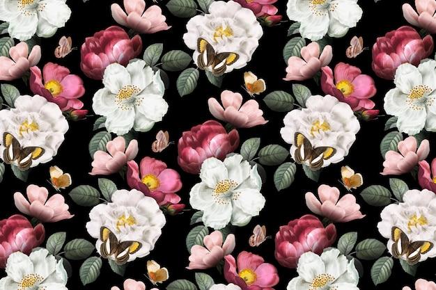 ロマンチックな花の背景 無料ベクター