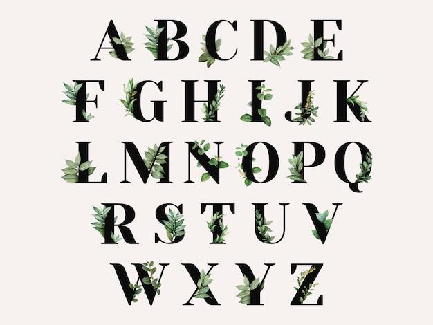 植物をテーマにしたアルパベット 無料ベクター