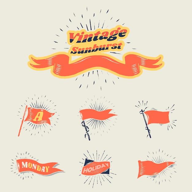 Винтажные флаги солнечных лучей Бесплатные векторы