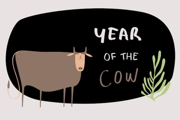 Китайская корова знак зодиака Бесплатные векторы